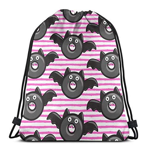 Bat Vampire Halloween Donuts On Pink Stripes Drawstring Backpack Bag Gym sack Sport Beach Daypack for Girls Men & Women Teen Dance Bag Cycling Hiking Team Training 17 X 14 Inch -