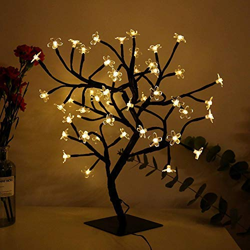Bonsai Cherry Blossom Tree Light 48 LED Soft Crystal Cherry Flower Black Branches Smart Timer Battery Operated Adjustable for Desk Window Ideal Décor Party Festival Spring Summer Night (warm white) (Lamp Tree Flower)