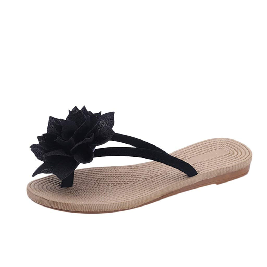 Women's Flip Flops Sandals Summer Beach Slippers Flower Flat Anti-Slip Beach Shoes Thong Style Comfortable Walk Black by NIKAIRALEY Shoes