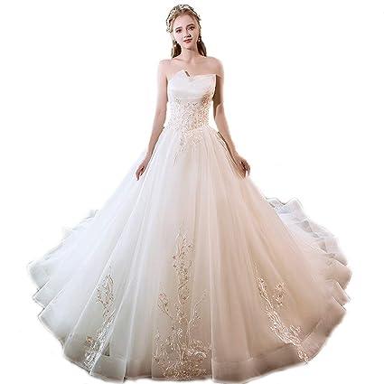 7705e3fd13e8 Abito da Sera in Chiffon Arricciato da Sposa con Pieghe Lunghe in Pizzo e  Maniche Lunghe da Cerimonia (Color   White