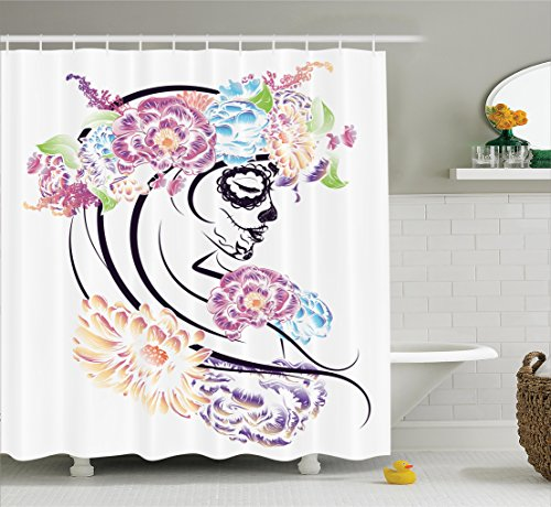 Ambesonne Skulls Decorations Collection, Dramatic Skull Girl in Colorful Floral Veil Down Day of the Dead Lady Sadness Art Print , Polyester Fabric Bathroom Shower Curtain, 75 Inches Long, Multi - Day Of The Dead Clothes Ideas
