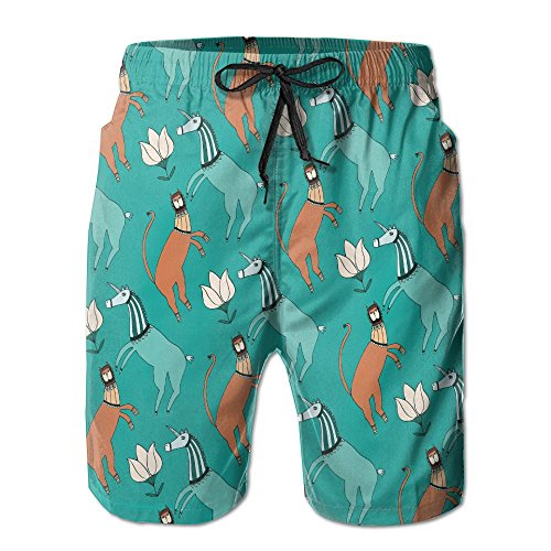 Discount DSFASRHAQA Tiger Unicorn Folk Novelty Mens GuysCamping Swimsuit Trunks Classical