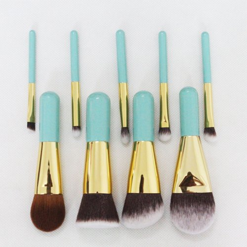 Keeneya 9 Pieces Professional Makeup Brush Set Blue Handle Cosmetic Face Brushes, Including:Round Top blush, Angled Top contour, Flat Top Powder, Foundation, Eyeshadow, Blooming, Eyebrow, Nose
