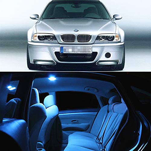 Wagon E46 (WLJH 17pcs Ice Blue LED Interior Lights Package Kit+ License Plate Light Lamp for BMW E46 1999-2006 Sedan Wagon Coupe)