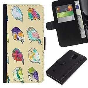 iKiki Tech / Cartera Funda Carcasa - Spring Easter Yellow Ornitology Pattern - Samsung Galaxy Note 4 SM-N910F SM-N910K SM-N910C SM-N910W8 SM-N910U SM-N910