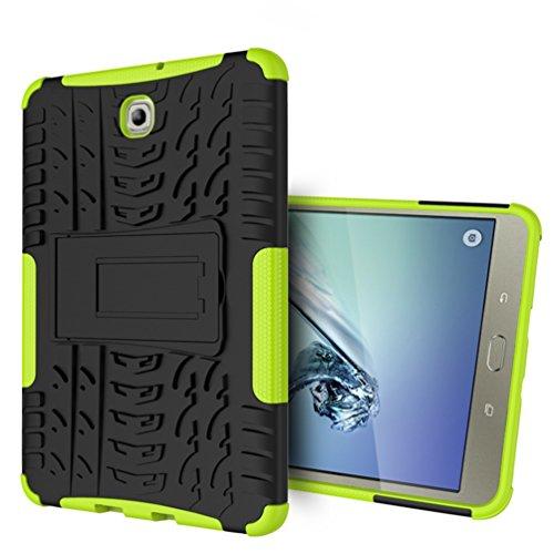 Fundas para Samsung Tab S2 8, KATUMO® Carcasa Dura Gel para Tablet Samsung Galaxy Tab S2 8.0 pulgadas T710/715 Funda Caja Cubierta Cover(Funcion de Soporte)-Negro Verde