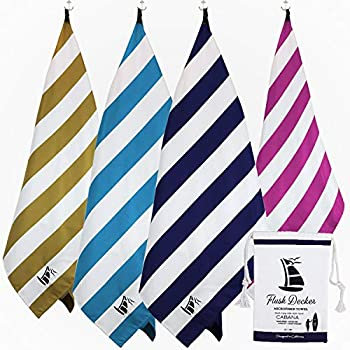 Flush Decker Oversized 35 inch X 78 inch XXL 100% Microfiber Quick-Dry, Sand Free Stripe Cabana Beach Towel Navy Blue, XX-Large (777-729-08-01)