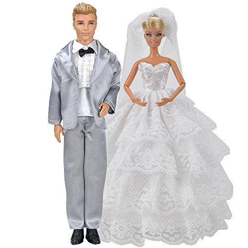 Bride Doll Clothes (E-TING White Lacy Wedding Gown Dress and Silver Tux Formal Suit Doll Clothes Wedding Set by Ken Barbie Dolls)