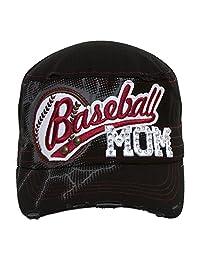 TopHeadwear Baseball Mom Distressed Adjustable Cadet Cap - Black