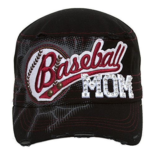 TopHeadwear Baseball Mom Distressed Adjustable Cadet Cap - Black