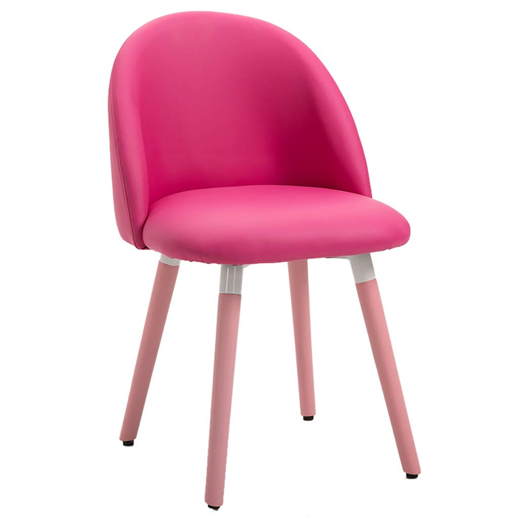 PU pink Cute Solid Wood Makeup Stool, Nordic Dining Chair, PU Flannel Fabric + High Backfill Sponge Filling, Ergonomic Design, for Restaurant Office Counter Family