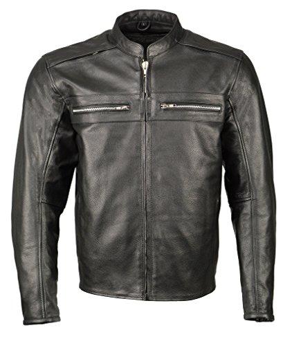 Men's Armored Leather Café Racer Jacket -Black-LG