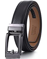 Marino Avenue Mens Genuine Leather Ratchet Dress Belt with Open Linxx Leather Buckle, Enclosed in an Elegant Gift Box - Black - Style 162 - Custom Up to 44