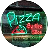 "Pizza by The Slice Shop Display Advertising Décor Dual Color LED Neon Sign Green & Red 16"" x 12"" st6s43-i2004-gr"