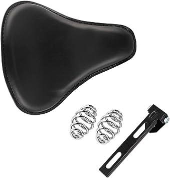 Black Stripe Leather Solo Driver Saddle Seat for Harely Honda Sportster Bobber Chopper Custom