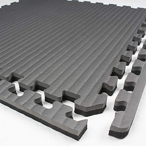 IncStores - Tatami Foam Tiles - Extra Thick mats Perfect for Martial Arts, MMA, Lightweight Home Gyms, p90x, Gymnastics, Yoga and Cardio (Black/Grey, 1 (3'x3') Tile, 9 Sqft + Borders) by IncStores (Image #3)