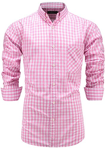 - Emiqude Men's 100% Cotton Regular Fit Long Sleeve Button Down Plaid Dress Shirt XL Pink