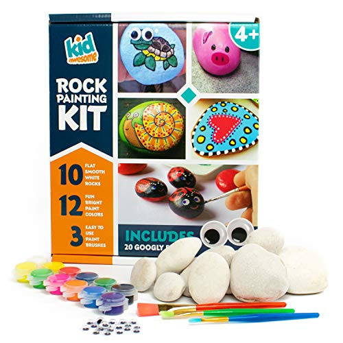 Rock Painting Kit for Kids | DIY Craft Set with 10 Smooth Beach Rocks Hand Picked for Rock Art, 12 Kid Friendly Acrylic Paint Colors, 3 Paint Brushes, and Bonus Googly Eye Pack