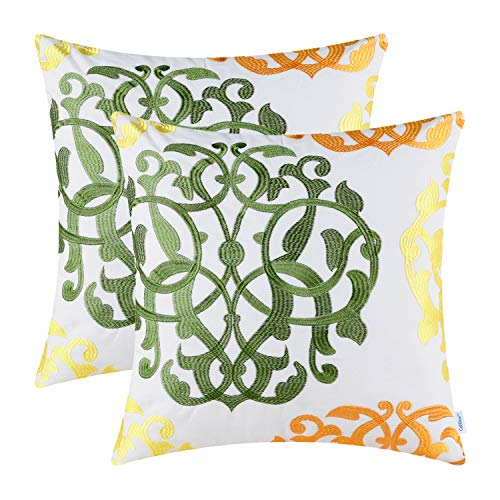 CaliTime Pack of 2 Cotton Throw Pillow Cases Covers for Bed Couch Sofa Vintage Compass Geometric Floral Embroidered 18 X 18 Inches Olive Green/Sun Orange/Bright Yellow ()