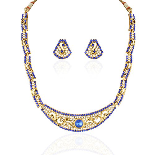 Blue Austrian Diamond Party Wear Necklace Set