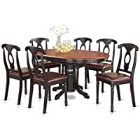 East West Furniture KENL7-BLK-LC 7-Piece Dining Table Set