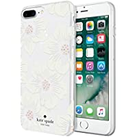 kate spade new york KSIPH-056-HHCCS Protective Hardshell Case for iPhone 8 Plus, iPhone 7 Plus & iPhone 6 Plus/6s Plus - Hollyhock Floral Clear/Cream with Stones