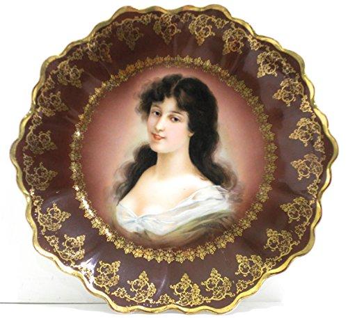 An Antique Royal Vienna Bavaria Porcelain Hand Painted Portrait Plate