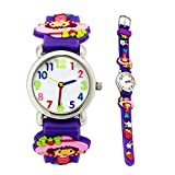 Eleoption Waterproof 3D Cute Cartoon Digital Silicone Wristwatches Time Teacher Gift for Little Girls Boy Kids Children (Purple Strawberry)