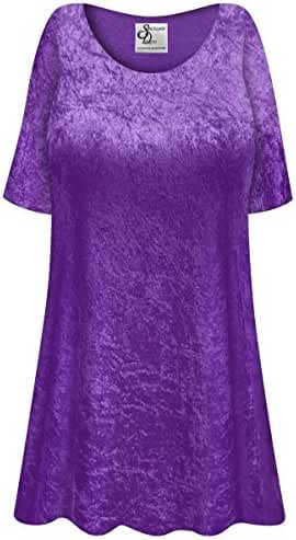 Purple Crush Velvet Plus Size Supersize Extra Long A-Line Top