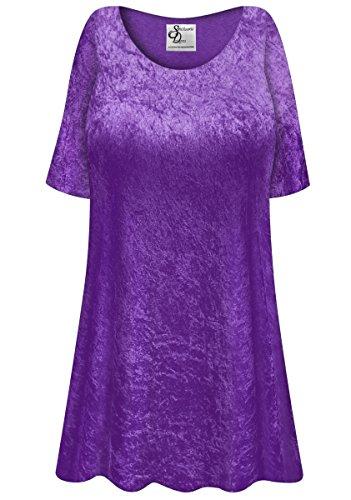 Purple Crush Velvet Plus Size Supersize Extra Long A-Line Top 5xT