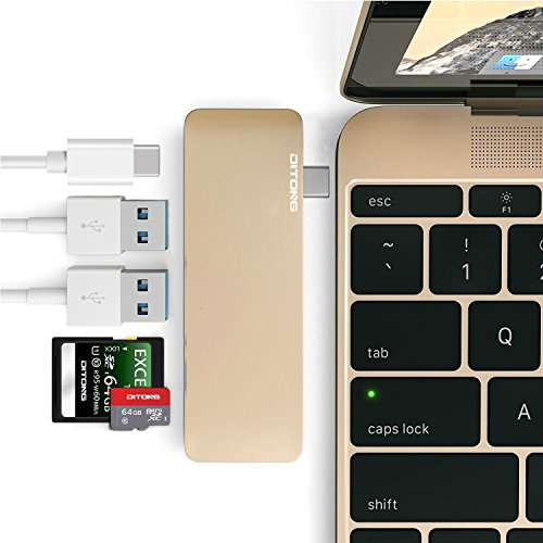 DITONG Type-C USB 3.0 Hub C 5 in 1 Aluminum Multi-Port Adapter with 2 USB 3.0 Ports, a SD and Micro SD Card Slots and a USB-C Charging Port for 12 MacBook Pro 2015/2016, 2016/2017 MacBook Pro (Gold)