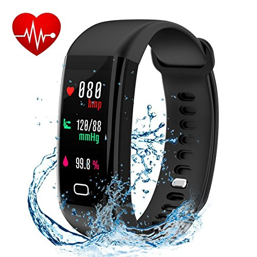 Letuboner Fitness Tracker with Heart Rate Monitor,Color Screen Activity Tracker,IP68 Waterproof Smart Wristband Pedometer (black)