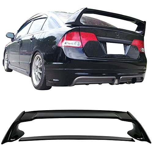 Pre-painted Trunk Spoiler Fits 2006-2011 Honda Civic | ABS Painted Glossy Black Trunk Boot Lip Rear Spoiler Wing Deck Lid Other Color Available By IKON MOTORSPORTS | 2007 2008 2009 2010