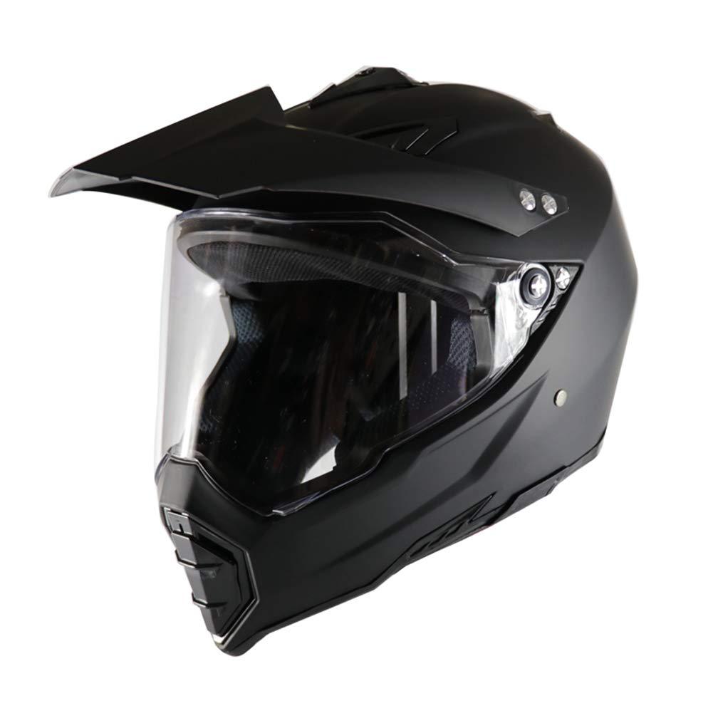 JAYE Motorrad-Helm, Persönlichkeit Vier Jahreszeiten Full Face DH Off-Road Motorcycle AM Mountain Bike Riding Helm für Erwachsene Männer Frauen,schwarz,L