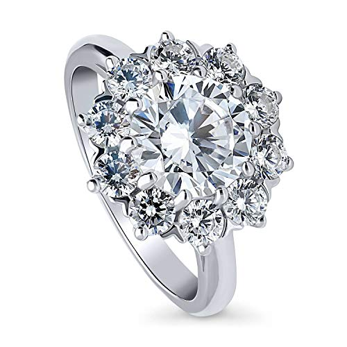 Flower Shaped Ring - BERRICLE Rhodium Plated Sterling Silver Round Cubic Zirconia CZ Statement Flower Halo Engagement Ring 3.14 CTW Size 5