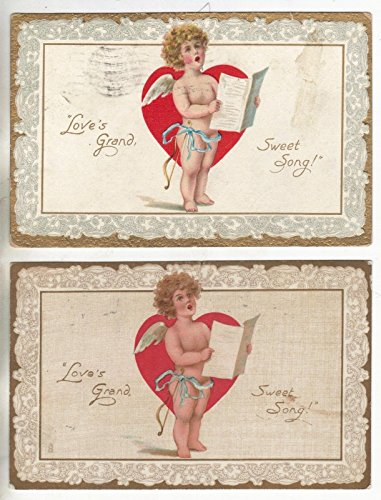 (Group of 4 Tuck Publishing Valentine Greetings Angels Antique Postcards N2025)