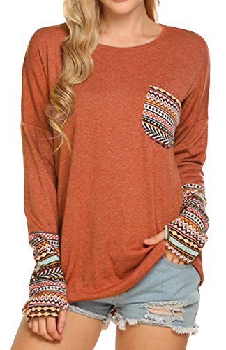 POGTMM Women's Long Sleeve O-Neck Patchwork Casual Loose T-shirts Blouse Tops with Thumb Holes (XXXL, Z# Orange)