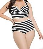 YeeATZ Women's Striped Print Curvy High Waist Bikini Swimsuit