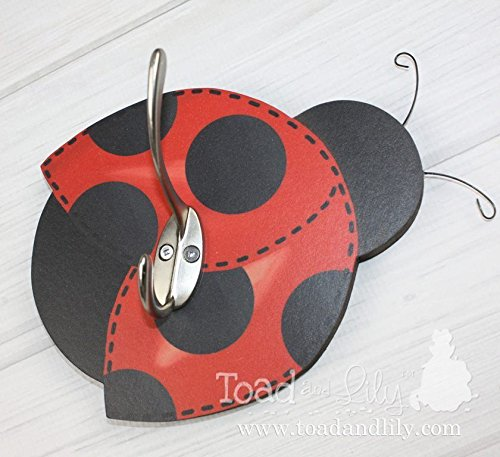 Red Black Mod Ladybug Clothes Peg Rack Clothing Rack, Hat Holder for Kids Bedroom Baby Nursery Playroom Mudroom Bathroom (Mod Ladybug Wall)