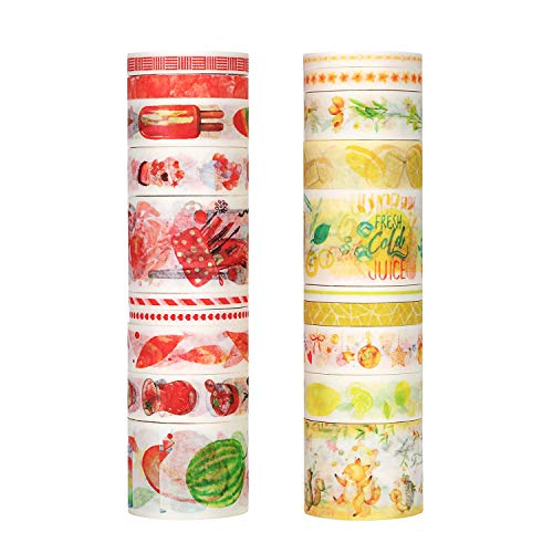 (Molshine 20rolls(6.6ft/roll) Washi Masking Tape,Adhesive Paper,Cute Tape for DIY,Planners,Scrapbooking,Object Beautification,Home Furnishing Decor,Gift Wrapping-Colorful Food Fruit Series)