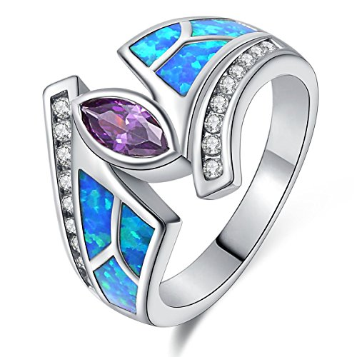 Ring Flower Bypass (Women Rings Blue Fire Opal Purple Cubic Zirconia Rhodium Plated Flower Leaf Bypass Jewelry Size 6)