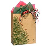 Evergreen Tree Paper Shopping Bags - Cub Size - 8in. X 4.75in. X 10.25in. - 250 Pieces