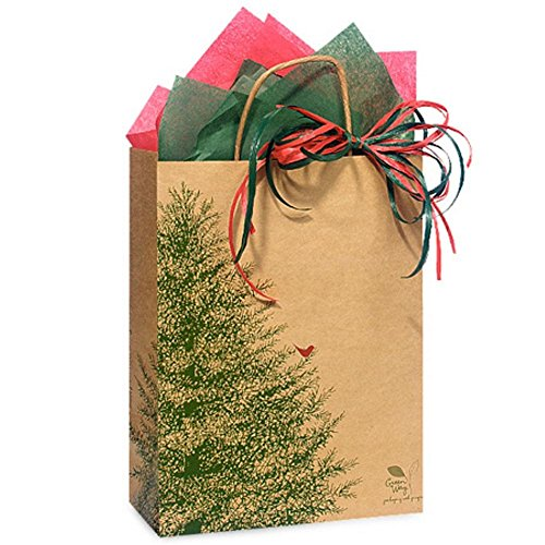 Evergreen Tree Paper Shopping Bags - Cub Size - 8in. X 4.75in. X 10.25in. - 250 Pieces by NW