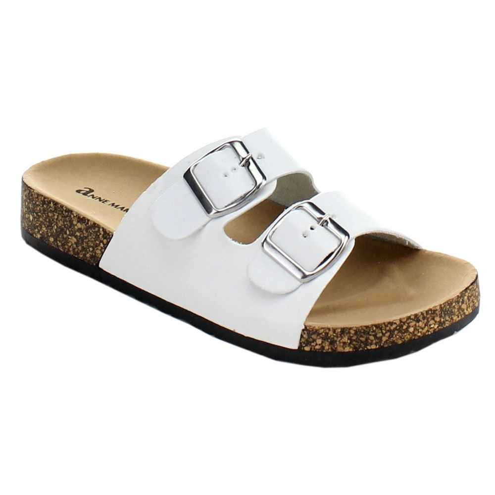 f74edb7aae18 Anne marie glory women fashion comfy buckled cork sole two strap slides  sandal color white size