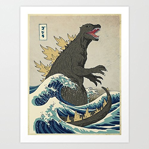 The Great Godzilla off Kanagawa Art Print Canvas Wall Art For Home Decoration Wooden Framed 16