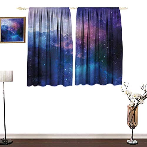 (Jinguizi Wide TapThermal Insulating Blackout Curtain Stars Universe Themed Colorful Nebula in Cosmos Interstellar Dark Artful PicturePrinting Insulation W84 xL72 Navy Purple)