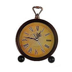 LauderHome 5 Vintage Retro Old Fashioned Decorative Silent Desk Alarm Clock Non Ticking Quartz Movement Battery Operated