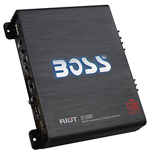 Car Amplifers | BOSS Audio R1100M Riot 1100 Watt, 2/4 Ohm Stable Class A/B, Monoblock, Mosfet with Remote Subwoofer ()