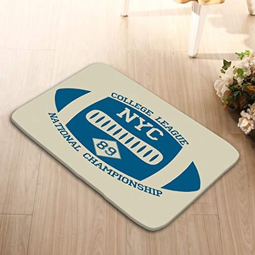 (zexuandiy Doormat Entrance Mat Floor Mat Rug Non Slip Bathroom Mats 15.7 X 23.6 in New York Sport Typography University Football Athleti)