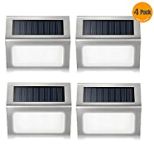 Solar Powered Light,Elelink Outdoor Stainless Steel LED Solar Step Light; Illuminates Stairs, Patio,Deck,Yard,Garden,Walkways,Stairs,Outside Wall (White, 4 Pack)